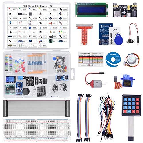 kuman RFID Starter Kit per Raspberry Pi 4 B 3 B + con tutorial, Saldato LCD I2C 1602, Breadboard Senza Saldatura, Python C Java, 204 Oggetti, 53 Progetti, Impara l'elettronica e la Programmazione K84