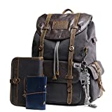 Leather Backpack for Men Canvas Vintage Rucksack Knapsack for Hiking Travel