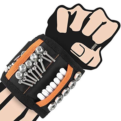 Pulsera Magnética,Wristband Magnético Ajustable con 15 Súper Imanes,Cinturon De Herramientas De Bricolaje,Fija...