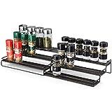Samstar Expandable Spice Rack Organiser for Kitchen Cupboard Cabinet Counter-top Pantry, 3 Tier Adjustable Metal Spice Shelf Organizer, Bronze