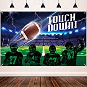 Size: the football field backdrop banner measures 185 x 110 cm/ 72.8 x 43.3 inch, large enough for the football party themed decoration and for photography at your party, it added an extra touch to party theme Durable material: the football field bac...