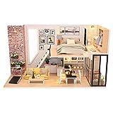 Poxl Puppenhaus DIY Wooden Dollhouse - Miniatur Puppenhaus mit Licht Musik Mini Handgefertigte...