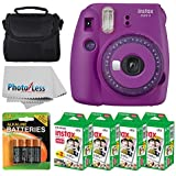 Fujifilm instax Mini 9 Instant Film Camera (Purple with Clear Accents) + Fujifilm Instax Mini Twin Pack Instant Film (80 Shots) + Camera Case + AA Batteries + Accessory Bundle