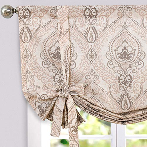 jinchan Tie Up Valance for Kitchen Living Room Damask Printed Paisley Rod Pocket Drapes Multicolor Medallion Flax Window Curtain 1 Panel 54 inches Long Taupe