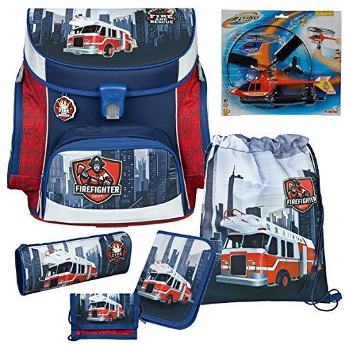 Feuerwehr Schulranzen-Set 6tlg, Scooli Undercover, Campus Fit mit Feuerwehr - Hubschrauber von Simba IM WERT VON 12,50 EUR GRATIS!