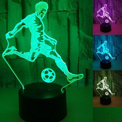 fissen 3d jugar al fútbol LED lámpara de Illusion óptico lámpara luz de noche con cable USB y 7colores decoración para niños dormitorio noche mesa de bebé niño regalo de Navidad fiesta cumpleaños