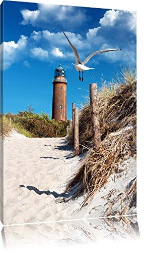 Schöner Leuchtturm am Strand Format: 80x60 auf Leinwand, XXL riesige Bilder fertig gerahmt mit Keilrahmen, Kunstdruck auf Wandbild mit Rahmen, günstiger als Gemälde oder Ölbild, kein Poster oder Plakat