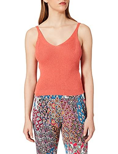 Only ONLLINA S/L Top KNT Noos Camiseta sin Mangas, Deep Sea Coral/Detalles:...