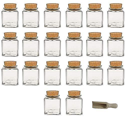Viva Haushaltswaren - 20 x Gewürzglas eckig 200 ml, Glasdose mit Korkverschluss als Gewürzdose & Vorratsdose für Gewürze, Salz etc. verwendbar (inkl. kleiner Holzschaufel 7,5 cm)