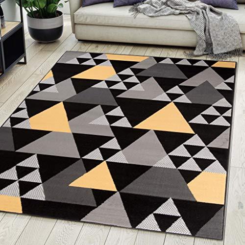 Carpeto Rugs Tapis Salon Geometrique Moderne Gris 200 x 300 cm Différentes Tailles Poils Courts