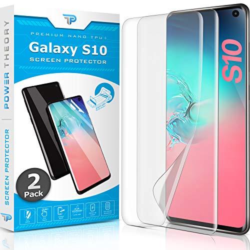 Power Theory Schutzfolie für Samsung Galaxy S10 [2 Stück] - [KEIN Glas] 3D Nano-Tech Panzerglasfolie, Panzerglas Folie, 100% Fingerabdrucksensor, Einfache Installation, Displayschutz Panzerfolie