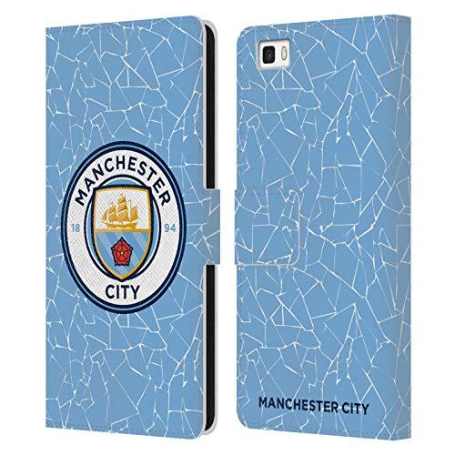 Head Case Designs Licenciado Oficialmente Manchester City Man City FC Casa 2020/21 Kit de Insignias Carcasa de Cuero Tipo Libro Compatible con Huawei P8lite / ALE-L21