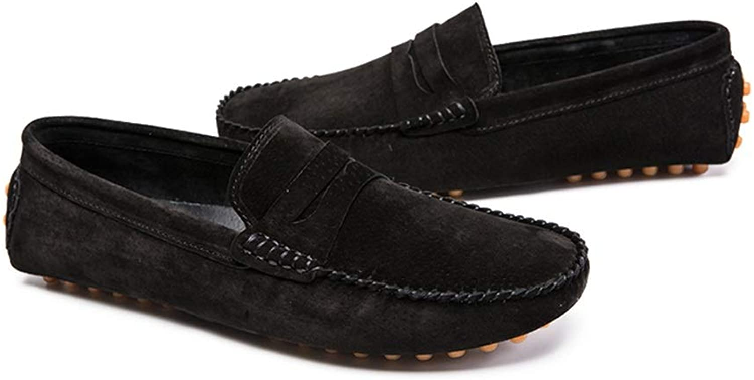 Ino Durable Driving Loafer for Men Boat Moccasins Slip On Style Suede Leather Simple Pure color British Style