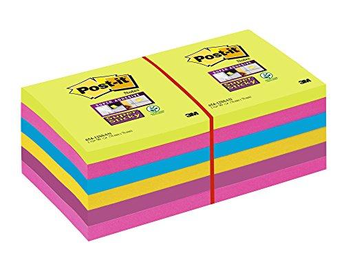 Post-It Super Sticky 65412SSU - Pack de 12 blocs de notas, 76 x 76 mm, 90 hojas/bloc, Turquesa Mediterráneo/Verde Neón/Amarillo Neón/Rosa Fucsia