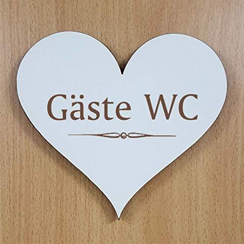 Schild Herz GÄSTE WC ca. 13 x 12 cm - selbstklebendes Türschild Dekoschild
