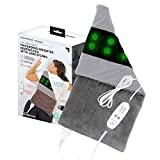 """Calming Heat Jade Stone Massaging Weighted Heating Pad by Sharper Image- Weighted Electric Heating Pad, Massaging Vibrations, 6 Settings- 3 Heat, 3 Massage- 9 Relaxing Combinations, 12"""" x 24"""", 4 lbs"""