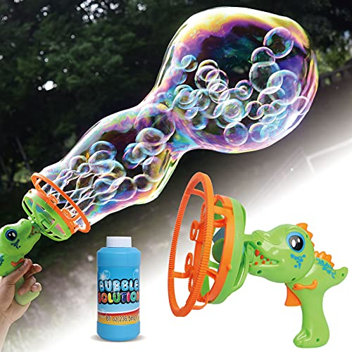 Happitry Bubble in Bubble Blower Machine for Toddlers Ages 3 4 5 6 Year Old, Dinosaur Bubble Maker for Kids Outdoor Play, Bubble Gun Blower for Kids with 8oz Bubble Solution, Gifts for Birthday