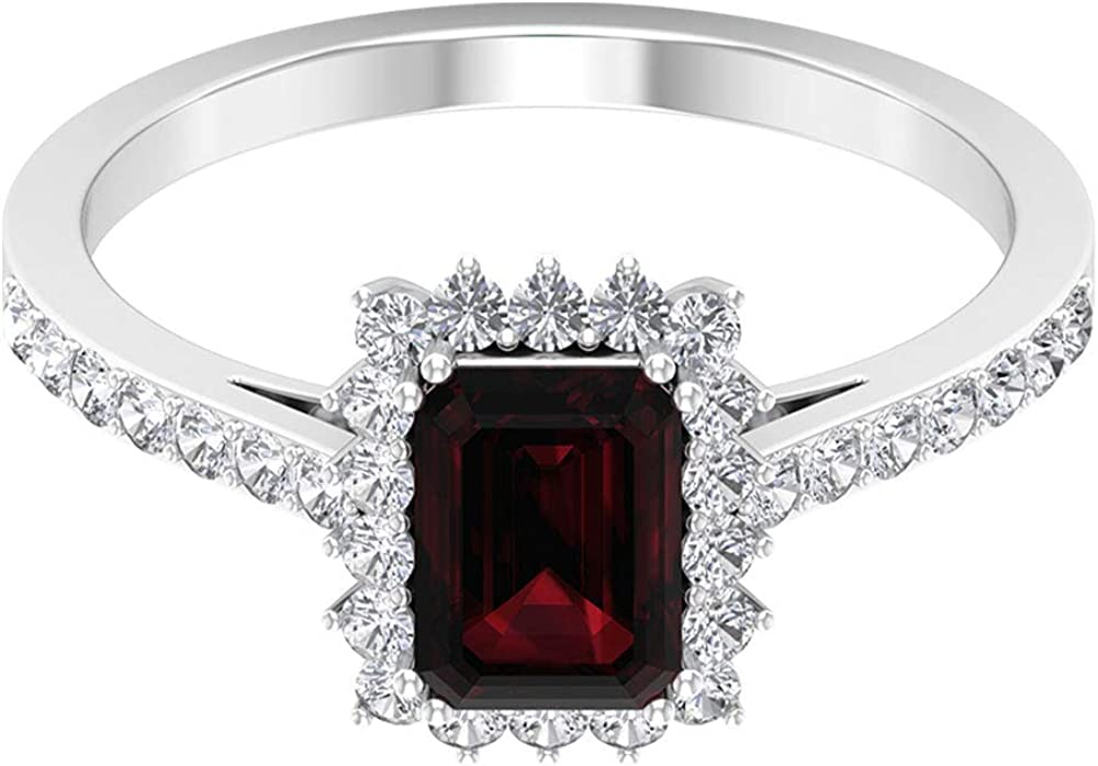 Solitaire Engagement Ring, 1.25Ct 7X5mm Octagon Garnet Wedding Ring, 1/2Ct HI-SI Diamond Halo Statement Ring, Cocktail Partywear Ring, Bridal Jewelry, 14K Gold