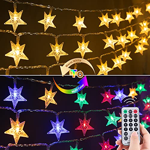 Star String Lights Plug in 33 Feet 100 Led Christmas Twinkle Fairy Lights with Remote & Timer 11 Lighting Modes Outdoor Indoor String Lights for Bedroom Patio Camping Decor