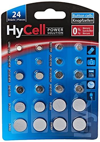 HyCell 1516-0003 - Set  de Pilas botón alcalinas (litio) para generador TAN, llave de coche, abrepuertas de garaje, 24 piezas