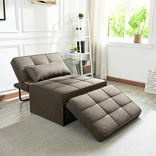 Vonanda Sofa Bed, Convertible Chair 4 in 1 Multi-Function Folding Ottoman Modern Breathable Linen Guest Bed with Adjustable Sleeper for Small Room Apartment, Light Brown