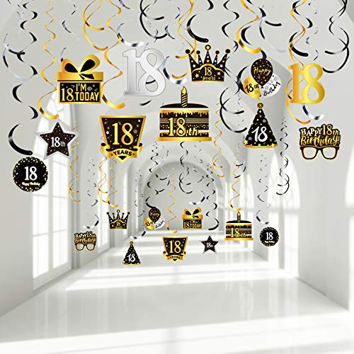 30 Pieces Happy 18th Birthday Party Hanging Swirls Decorations, Silver Black Golden 18th Birthday Cake Glasses Crown Balloons Sign Foil Swirls Ceiling Decorations for 18 Year Old Party Decor Supplies