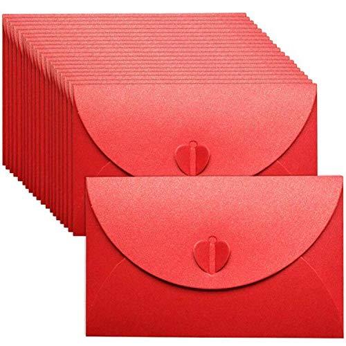 Mini Sobres BESLIME- 50 Pcs Mini Sobres de Papel Kraft Con Cierre en Forma Corazón Sobresde Para Materiales de Regalo de...