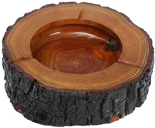 AMITD Houten ronde sigaret asbak draagbare roken asbak milieuvriendelijke tafeldecoratie (bruin)