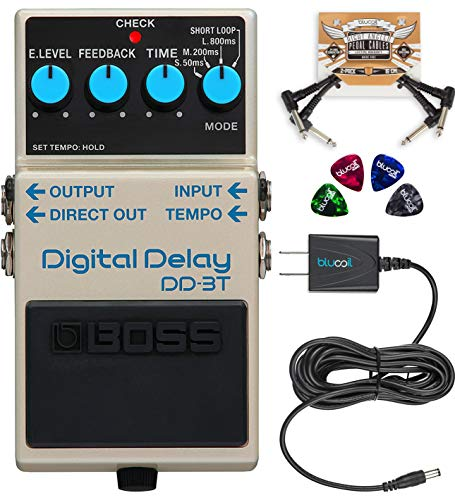 BOSS DD-3T Digital Delay Guitar Effects Pedal with Tap Tempo Bundle with Blucoil Slim 9V Power Supply AC Adapter, 2-Pack of Pedal Patch Cables, and 4-Pack of Celluloid Guitar Picks