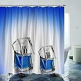 Juego de cortina de ducha azul con botella de perfume de 72 x 72 pulgadas, duradero e impermeable, juego de cortinas de ducha de secado rápido con 12 ganchos de plástico y alambre de plomo pesado