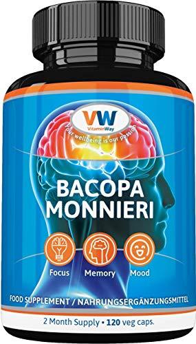 Bacopa Monnieri Brahmi 700mg Extract 50% Bacosides 120 Veg Capsules 2-Mth Supply. Focus Memory Mood. Made in EU by VitaminWay