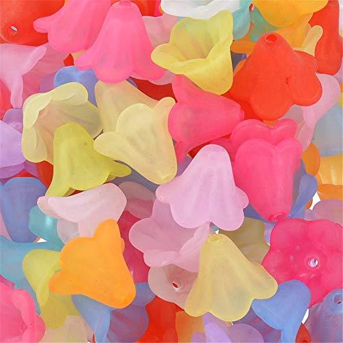 YouFia 200 Stücke Blütenkelche Blüten Perlen Acryl 14mm für Engelanhänger Blütenfeen Blumen Spacer Perlen Beads zum Basteln