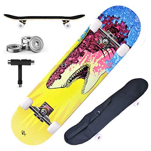 DnKelar Skateboard 79x20cm Tabla de Madera para Principiantes con rodamientos de Bolas ABEC-7 31 '' Madera de Arce de 7 Capas y Ruedas de 90A con Bolsa + T-Tool (Estilo4)