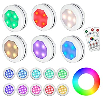 Puck Lights Battery Operated Under Cabinet Lighting GANA 6 Pack Color Changing Puck Lights Under Cabinet Lighting Battery Powered Lights Puck Lights with Remote 16 Colors and 4 Models Battery Lights