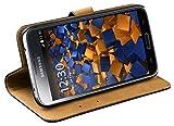 mumbi Echt Leder Bookstyle Hülle kompatibel mit Samsung Galaxy S5 / S5 Neo Hülle Leder Tasche Hülle Wallet, schwarz