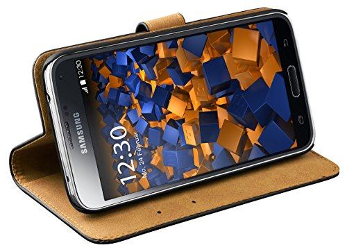 mumbi Echt Leder Bookstyle Case kompatibel mit Samsung Galaxy S5 / S5 Neo Hülle Leder Tasche Case Wallet, schwarz