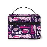 Bolsa de maquillaje grande de color morado, multifunción, organizador de artículos de aseo, portátil, regalo para mujeres y niñas, lápiz labial