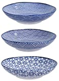 TOKYO design studio Nippon Blue 3-er Bowl-Schüsseln -Set blau-weiß