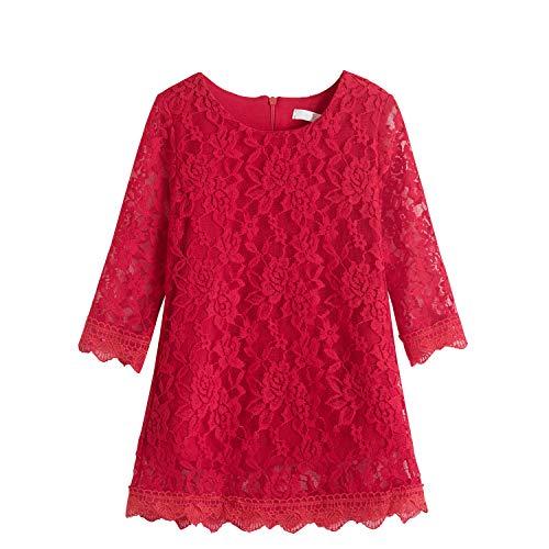 TTYAOVO Princesa Niña Cordón Vestido Casual Flor Muchachas Bebé Ropa Talla 120 (4-5 años) 1227 Rojo