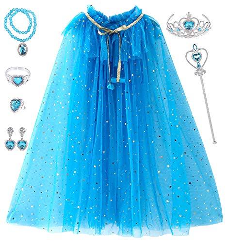 Tacobear Prinzessin Umhang Kinder Mädchen ELSA Prinzessin Kostüm mit 7Stk Prinzessin Schmuck Krone Zauberstab Armband Ring Ohrringe Halskette Prinzessin Cape für Halloween Karneval Party (Dunkelblau)