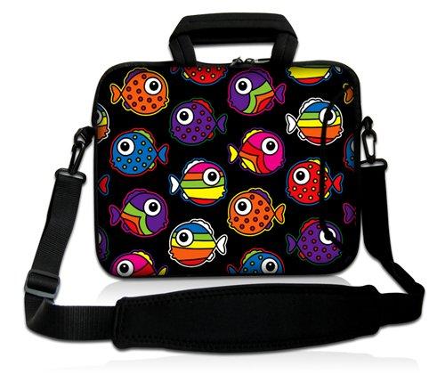 Luxburg Design Custodia Borsa a tracolla per Notebook Laptop PC portatile Macbook 15,6 pollici, motivo: Pesci colorati
