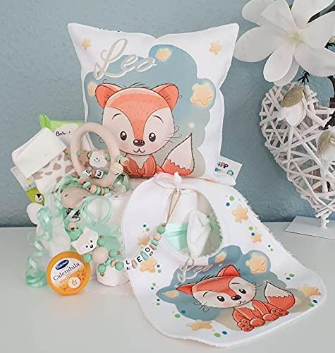 Luiertaart met naam - knuffelkussen vos I fopspeenketting & grijpling - cadeau, babyshower, geboorte of doop + op verzoek gratis wenskaartjes
