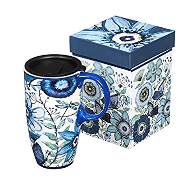 Blue Butterflies And Flowers Portable Ceramic Coffee Cup