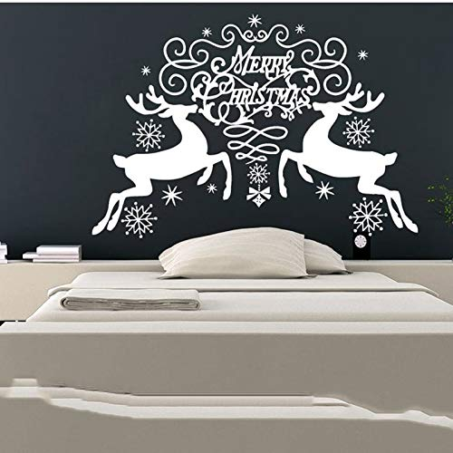 Wall Decals Wall Sticker Merry Christmas Snowflakes Reindeer Christmas Decoration Decal Vinyl Sticker Bedroom Home Decor Art Murals 62x57cm