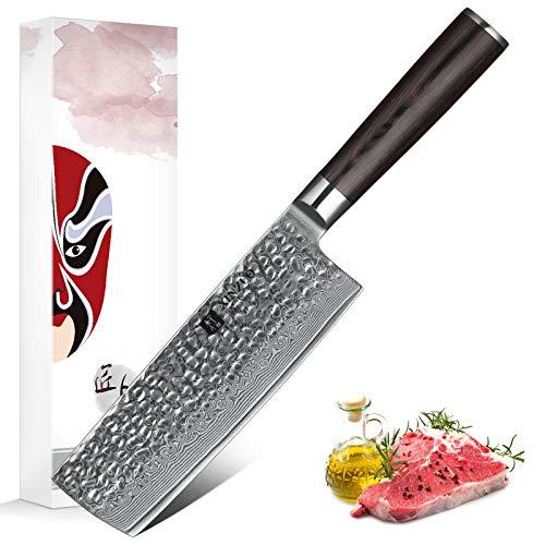 XINZUO Cuchillo de Cocina 17cm de Acero Damasco Japonés 67 Capas Profesional Cuchillo de Nakiri con Pakkawood Mango - He Serie