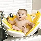 Blooming Bath Flower Baby Bath Seat - Plush Baby Bathtub, Fits Most Sinks - Newborn & Baby Essentials - Baby Gifts - Infant Tub - 32' - Canary Yellow