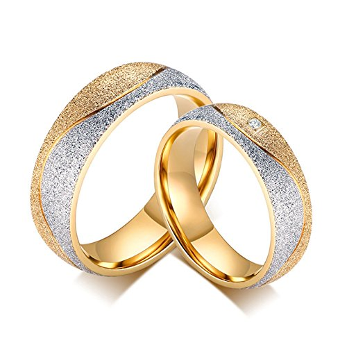 SonMo 2 Stück Frau Mann Edelstahl Paar Ringe Gold Eheringe Zweifarbig Paarpreis für Paare Gold Silber Frau:57 (18.1) & Mann:70 (22.3) Breit:6MM