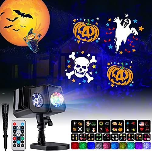 Halloween Christmas Projector Lights Outdoor - 26 HD Effects (3D Ocean Wave & Patterns) Waterproof...