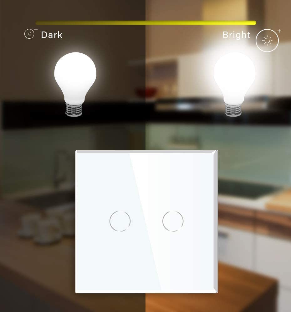 BSEED Interruptor regulador de luz 1 Gang 1 Way LED Dimmer Switch Interruptor de luz con pantalla t/áctil interruptor t/áctil de pared Blanco-86mm Adaptador Led requerido