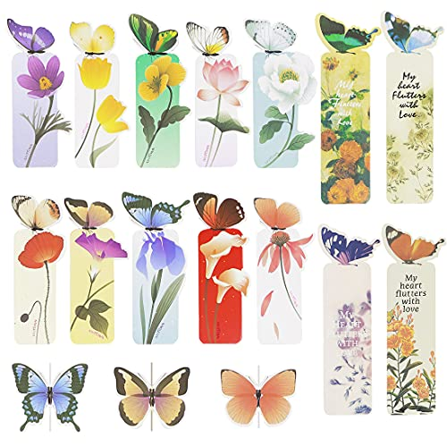 14PCS Cute 3D Butterfly Bookmarks Creative Page Clips Bookmark for Book Lovers Student Office Reading Stationery